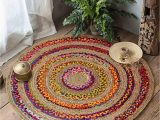 Round area Rugs 5 X 5 Hand Braided Circular 5 X 5 area Rugs for Living Room Natural Jute Bedroom Rugs