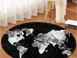 Round Black Bath Rug Star World Map Pattern Round Bath Rug