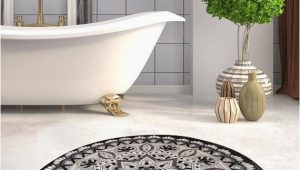 Round Blue Bathroom Rug Black & White Red Blue Brown Mandala Round Home Decor