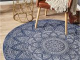 Round Blue Braided Rug Round Braided Cotton Mandala Navy Blue Round Rug