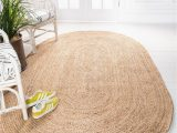 Round Blue Jute Rug Natural 100cm X 152cm Braided Jute Oval Rug