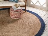 Round Blue Jute Rug Natural 8 X 8 Braided Jute Round Rug