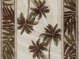 "Round Palm Tree area Rug 5 3"" 5 Round Tropical Palm Floral Coastal Black area Rug"