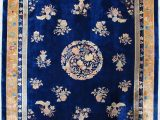 """Royal Blue and Gold area Rug 7268 Antique Peking Chinese Rug 10 0"""" X 13 7"""" Antique"""