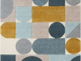 Royal Blue and Gold area Rug Ruby Dede Mid Century Modern Geometric Teal Blue Gray Gold area Rug