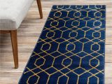 Royal Blue and Grey area Rug Navy Blue Gold 2 X 6 Marilyn Monroe™ Glam Trellis Runner