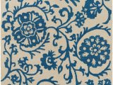 Royal Blue and White area Rugs Rhodes Rds 2314 Royal Blue F White Floral Rug