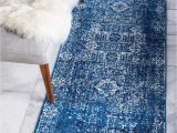 Royal Blue Fluffy Rug 2 7 X 10 Heritage Runner Rug