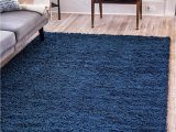 Royal Blue Fluffy Rug Unique Loom solo solid Shag Collection Modern Plush Navy Blue area Rug 7 0 X 10 0