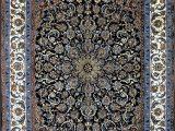 Royal Blue oriental Rug Slimi Dark Royal Blue isfahan Silk Persian Rug Item 794