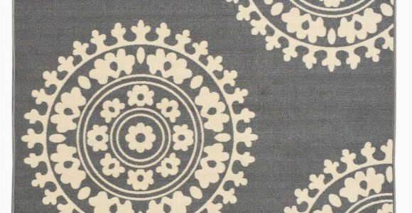 Rubber Backed 3×5 area Rugs Rubber Backed Non Skid Non Slip Gray Ivory Color Medallion Design area Rug