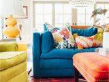 Rugs for Blue sofa Colorful Living Room Blue sofa orange Ottoman Yellow