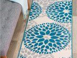 """Rugshop Modern Floral area Rug Rugshop Modern Floral Circles Design area Rug Runner 2 X 7 2"""" Blue"""