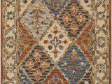 Rust and Blue area Rugs Crum oriental Handmade Tufted Wool Rust Dark Blue area Rug