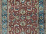Rust and Blue area Rugs oriental Hand Knotted Wool Rust Dark Blue area Rug