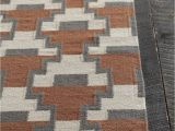 Rust and Gray area Rug Avon Collection Hand Woven area Rug In Rust Grey & White