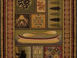 Rustic Cabin Lodge area Rugs Bear Canoe Antlers Fish southwestern Cabin Lodge area Rug