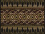 Rustic Cabin Lodge area Rugs Fish Pine Trees Bear Paw Prints Rustic Cabin Lodge area Rug