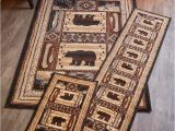 Rustic Cabin Lodge area Rugs Lodge Rugs Accent Runner area Rug Bear Deer Moose Fish Canoe Cabin Decor