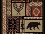 "Rustic Lodge Style area Rugs Rustic Lodge Bear Moose Deer Panel 5×8 Red area Rug 5 3""x7 7"" 6913"