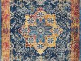 "Safavieh Madison Vintage Tribal Blue orange Rug Well Woven Cora Floral Medallion Vintage Blue area Rug 5×7 5 3"" X 7 3"" soft Plush Modern oriental Carpet"