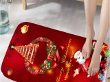 Santa Claus Bathroom Rugs Bathmats Rugs toilet Covers Christmas Wreath Santa