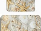 Seashell Bathroom Rug Set Amazon Sweet Tang Seashells Starfish On White Sand