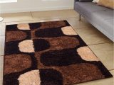 Secure area Rug to Carpet Story Home Modern Anti Skid Abstract Polyester Thick soft Shaggy area Rug Long Lasting Carpet for Bedroom Living Room Hall 3 X 5 Ft Brown