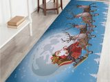 Sky Blue Bath Rug Christmas Moon Sled Print Nonslip Fleece Bath Rug