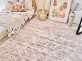 Soft area Rugs for Nursery Fleur Blush soft Shag Raised Moroccan area Nursery Rug