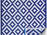 Solid Navy Blue Outdoor Rug Fh Home Indoor Outdoor Recycled Plastic Floor Mat Rug Reversible Weather & Uv Resistant Aztec Blue & White 6 Ft X 9 Ft