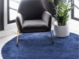 Solid Navy Blue Rug 8 X 8 solid Frieze Round Rug