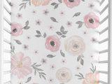 Sweet Jojo Designs area Rug Sweet Jojo Designs Watercolor Floral Fitted Crib Sheet