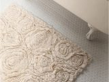Terry Cloth Bath Rug Frayed Roses Bath Mat