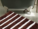 "Thick Plush Bath Rugs Warisi Bold Stripes Collection Designer Plush Microfiber Bath Rug 34"" L X 21"" W Brown Ivory"