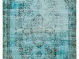 "Tiffany Blue area Rug Turquoise Over Dyed Turkish Vintage Rug 4 11"" X 8 5"" 59"