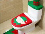 Toilet Seat Cover and Rug Bathroom Set 3pcs Set Christmas Bear toilet Seat Cover and Rug Bathroom
