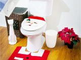 Toilet Seat Cover and Rug Bathroom Set Ebase Santa toilet Seat Cover & Rug & Tissue Box Cover Bathroom Set for Christmas Decoration