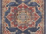 Traditional Blue area Rugs Dulin Blue Rust Red area Rug
