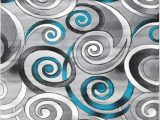 Turquoise and Black area Rug Spiral Swirls Modern Contemporary Hand Carved area Rug