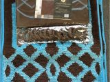Turquoise and Brown Bathroom Rugs 4 Piece Bath Set Chocolate Brown Turquoise Blue Polypropylene Mats Shower Curtain and Fabric Hooks Fillagree