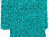 Turquoise Color Bathroom Rugs Shag Turquoise Bath Mat Set 2 Pc Memory Foam Plush