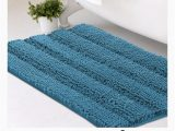Turquoise Color Bathroom Rugs Turquoise Blue Striped Chenille Bath Rug Super soft