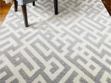 """Union Rustic Lederer Off White area Rug Corlies Color White Taupe Size 7 6"""" X 9 6"""""""