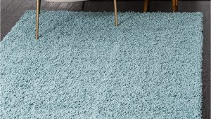 Unique Loom solid Shag area Rug Unique Loom solo solid Shag Collection Modern Plush Light Slate Blue area Rug 3 3 X 5 3