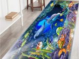 Very Thin Bathroom Rug Bathroom Rug Non Slip Flannel Microfiber Bath Mat Underwater World Dolphin area Rug with Water Resistant Rubber Back Anti Slip for Kitchen and