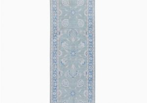 "Wayfair Blue Runner Rugs E Of A Kind Hand Knotted 2010s Oushak Blue Gray 2 8"" X 9 8"" Runner Wool area Rug"