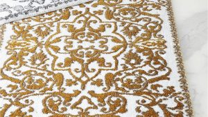 White and Gold Bath Rug Pin On Ideas for the House