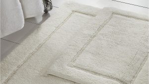 White Bath Rug Set Modern Threads White solid Loop Non Slip Bath Mat 2 Piece Set