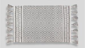 White Bathroom Rugs Mats Geometric Tassel Bath Mat 80cm X 50cm – Grey